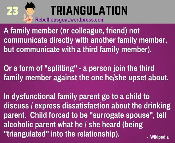 Scapegoating >> Psychology # 23 : Triangulation – Rebellious Scapegoat